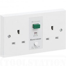 RCD SafetySure Double Socket Unswitched White