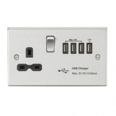 13A switched socket with quad USB charger (5.1A) - brushed chrome with black insert