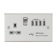 13A switched socket with quad USB charger (5.1A) - brushed chrome with grey insert