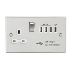13A switched socket with quad USB charger (5.1A) - brushed chrome with white insert