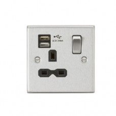 13A 1G Switched Socket Dual USB Charger (2.1A) with Black Insert - Square Edge Brushed Chrome