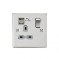 13A 1G Switched Socket Dual USB Charger (2.1A) with Grey Insert - Square Edge Brushed Chrome
