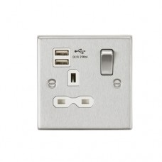 13A 1G Switched Socket Dual USB Charger (2.1A) with White Insert - Square Edge Brushed Chrome