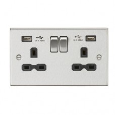 13A 2G Switched Socket Dual USB Charger (2.4A) with Black Insert - Square Edge Brushed Chrome