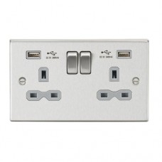 13A 2G Switched Socket Dual USB Charger (2.4A) with Grey Insert - Square Edge Brushed Chrome
