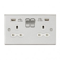 13A 2G Switched Socket Dual USB Charger (2.4A) with White Insert - Square Edge Brushed Chrome