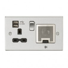 13A Socket, USB chargers (2.4A), & Bluetooth Speaker - Square Edge Brushed Chrome with black insert