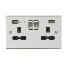 13A 2G DP Switched Socket with Dual USB Charger (Type-A FASTCHARGE port) - Brushed Chrome/Black