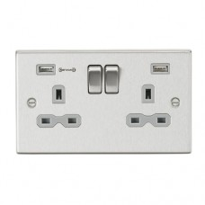 13A 2G DP Switched Socket with Dual USB Charger (Type-A FASTCHARGE port) - Brushed Chrome/Grey