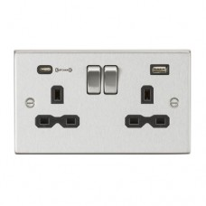 13A 2G DP Switched Socket with Dual USB Charger (Type-C FASTCHARGE port) - Brushed Chrome/Black