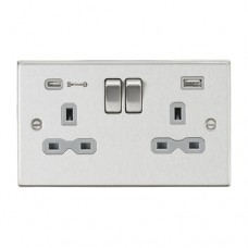 13A 2G DP Switched Socket with Dual USB Charger (Type-C FASTCHARGE port) - Brushed Chrome/Grey