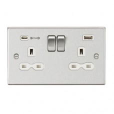 13A 2G DP Switched Socket with Dual USB Charger (Type-C FASTCHARGE port) - Brushed Chrome/White
