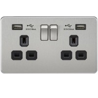 Screwless 13A 2G Switched Double Plug Socket with Dual USB Charger - Brushed Chrome with Black Insert