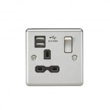 13A 1G Switched Plug Socket, Dual USB Charger Slots W/Black Insert - Rounded Edge Brushed Chrome