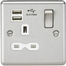 13A 1G Switched Socket, Dual USB Charger Slots W/White Insert - Rounded Edge Brushed Chrome