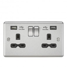 13A 2G Switched Plug Socket, Dual USB Charger Slots W/Black Insert - Rounded Edge Brushed Chrome