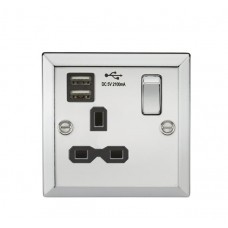 13A 2G Switched Plug Socket, Dual USB Charger Slots W/White Insert - Rounded Edge Brushed Chrome