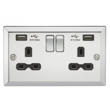13A 2G Switched Plug Socket, Dual USB Charger Slots W/Black Insert - Bevelled Edge Polished Chrome