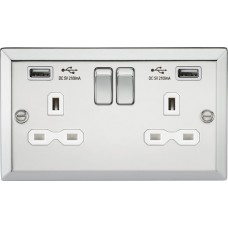 13A 2G Switched Plug Socket, Dual USB Charger Slots W/White Insert - Bevelled Edge Polished Chrome