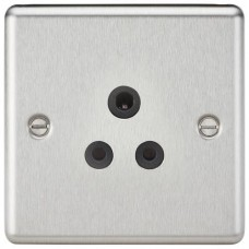 5A Unswitched Socket - Rounded Edge Brushed Chrome Finish W/Black Insert