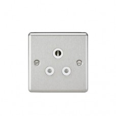 5A Unswitched Socket - Rounded Edge Brushed Chrome Finish W/White Insert
