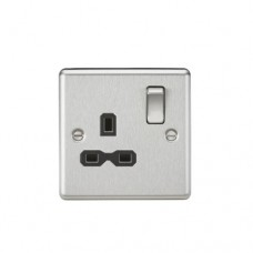 13A 1G DP Switched Socket W/Black Insert - Rounded Edge Brushed Chrome