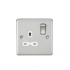 13A 1G DP Switched Socket W/White Insert - Rounded Edge Brushed Chrome