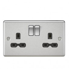 13A 2G DP Switched Socket W/Black Insert - Rounded Edge Brushed Chrome