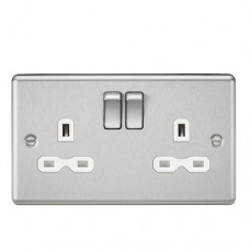 13A 2G DP Switched Socket W/White Insert - Rounded Edge Brushed Chrome