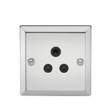 5A Unswitched Socket - Bevelled Edge Polished Chrome Finish W/Black Insert