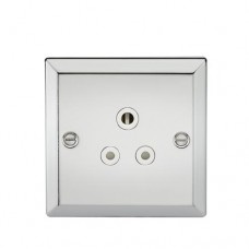 5A Unswitched Socket - Bevelled Edge Polished Chrome Finish W/White Insert