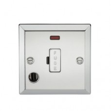 13A Fused Spur Unit W/Neon & Flex Outlet - Bevelled Edge Polished Chrome