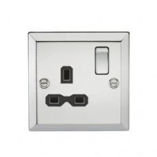 13A 1G DP Switched Socket W/Black Insert - Bevelled Edge Polished Chrome