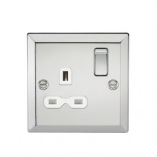 13A 1G DP Switched Socket W/White Insert - Bevelled Edge Polished Chrome
