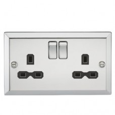 13A 2G DP Switched Socket W/Black Insert - Bevelled Edge Polished Chrome