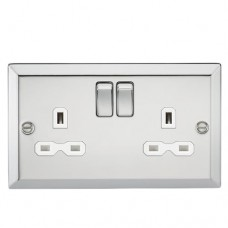 13A 2G DP Switched Socket W/White Insert - Bevelled Edge Polished Chrome