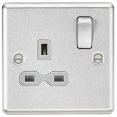 13A 1G DP Switched Socket with Grey Insert - Rounded Edge Brushed Chrome