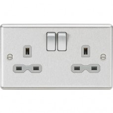 13A 2G DP Switched Socket with Grey Insert - Rounded Edge Brushed Chrome
