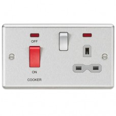 45A DP Cooker Switch 13A Switched Socket with Neons & Grey Insert - Rounded Edge Brushed Chrome