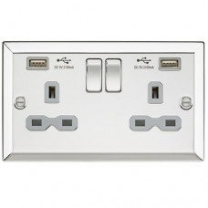 13A 2G Switched Socket Dual USB Charger Slots with Grey Insert - Bevelled Edge Polished Chrome