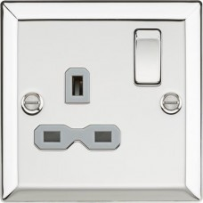 13A 1G DP Switched Socket with Grey Insert - Bevelled Edge Polished Chrome