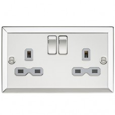 13A 2G DP Switched Socket with Grey Insert - Bevelled Edge Polished Chrome