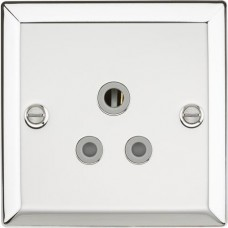 5A Unswitched Socket with Grey Insert - Bevelled Edge Polished Chrome