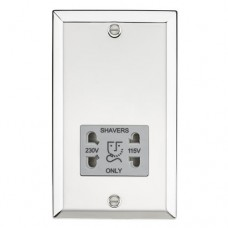 115-230V Dual Voltage Shaver Socket with Grey Insert - Bevelled Edge Polished Chrome