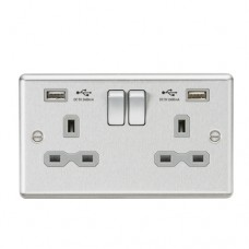 13A 2G Switched Plug Socket, Dual USB Charger Slots W/Grey Insert - Rounded Edge Brushed Chrome