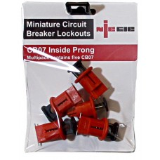Multi pack of 5 CB07 Inside prong MCB lockout devices